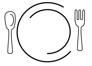 Dinner plate, knife, fork