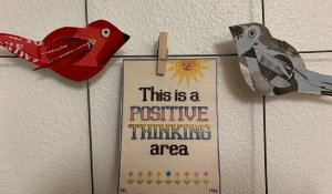 Positive Thinking Area sign and two paper birds