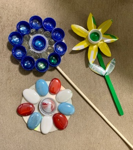 Flowers created from recyclables