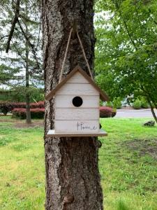 White birdhouse called Home