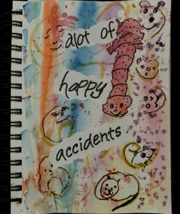 "Watercolor painting titled ""Happy Accidents"" by Leona J. Atkinson 2020"