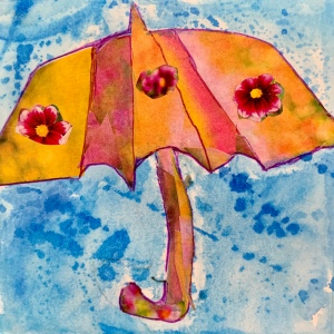 Umbrella in the rain watercolor by Leona J. Atkinson