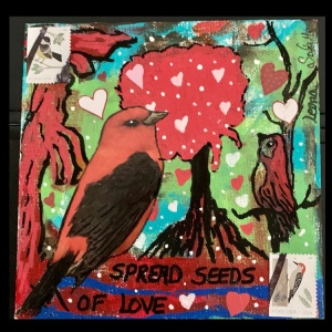 Mixed media art, birds, trees, hearts