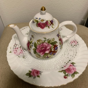 Teapot on a plate
