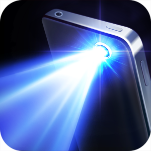 iPhone flashlight shining